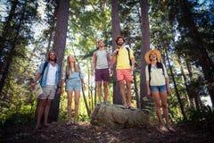 Groupe d'amis se tenant ensemble dans la forêt Image stock