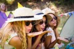 Groupe d'amis soufflant le baiser Photographie stock libre de droits