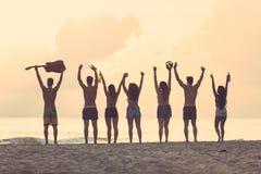 Groupe d'amis soulevant des mains sur la plage au coucher du soleil Image libre de droits