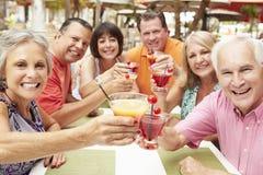 Groupe d'amis supérieurs appréciant des cocktails dans la barre ensemble Image stock