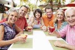 Groupe d'amis supérieurs appréciant des cocktails dans la barre ensemble Images libres de droits