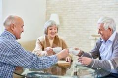 Groupe d'amis supérieurs appréciant le thé Photos libres de droits
