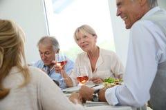 Groupe d'amis supérieurs ayant le repas ensemble Photographie stock libre de droits