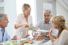 Groupe d'amis supérieurs mangeant le déjeuner Images stock