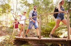 Groupe d'amis sur la promenade croisant le pont en bois dans la forêt Photographie stock