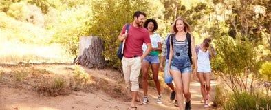 Groupe d'amis sur la promenade par la campagne ensemble Photos stock