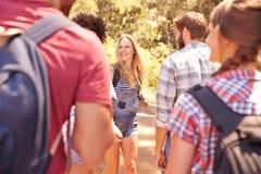 Groupe d'amis sur la promenade par la campagne ensemble Photo stock