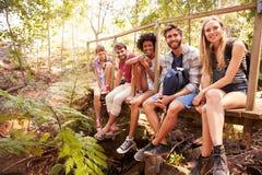 Groupe d'amis sur la promenade se reposant sur le pont en bois dans la forêt Image libre de droits