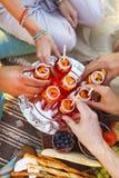 Groupe d'amis tenant des boissons au pique-nique d'été Photos stock