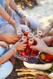 Groupe d'amis tenant des boissons au pique-nique d'été Photo stock