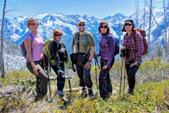 Groupe d'amis trimardant en montagnes Photos libres de droits