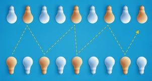 Groupe d'ampoule exceptionnel, rougeoyant différent Business illustration stock