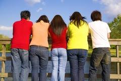 Groupe d'années de l'adolescence appréciant le lac Image stock
