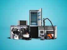 Groupe d'appareils électroménagers de la cuisinière à gaz 3d de machine à laver de machine à laver à micro-ondes de réfrigérateur illustration stock