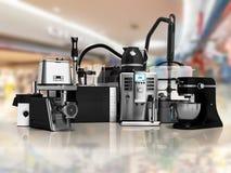 Groupe d'appareils électroménagers de stea de grille-pain de mélangeur de presse-fruits de hachoir de grille-pain de bouilloire d illustration de vecteur