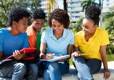 Groupe d'apprendre le mâle et les étudiantes d'afro-américain Photos stock
