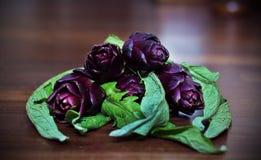 Groupe d'artichaut avec les bourgeon floraux pourpres Photo libre de droits