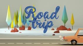 groupe 3d de bas poly arbres stylisés et de calligraphie ` de voyage par la route de ` des textes Photo stock