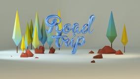 groupe 3d de bas poly arbres stylisés et de calligraphie ` de voyage par la route de ` des textes Images stock