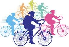 Groupe d'emballage de cyclistes Images stock