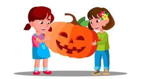 Groupe d'enfants célébrant Halloween avec le potiron dans le vecteur de mains Vacances d'automne Illustration d'isolement illustration libre de droits