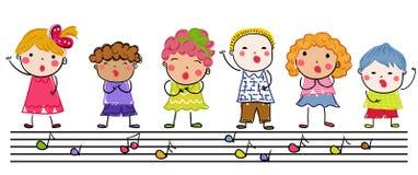 Groupe d'enfants, croquis de dessin Image stock