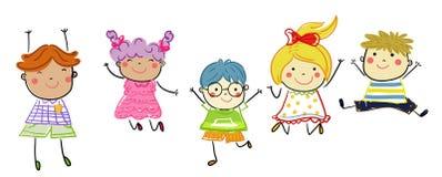 Groupe d'enfants, croquis de dessin Photos libres de droits