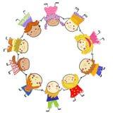 Groupe d'enfants, croquis de dessin Images libres de droits