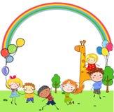 Groupe d'enfants, croquis de dessin illustration de vecteur