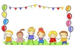 Groupe d'enfants, croquis de dessin illustration stock