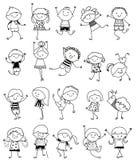 Groupe d'enfants, croquis de dessin Images stock