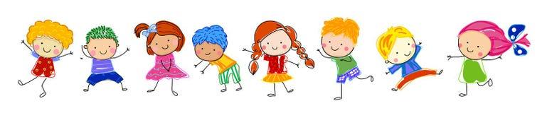 Groupe d 39 enfants croquis de dessin illustration de vecteur illustration du pi ce gar on - Dessin groupe d enfants ...