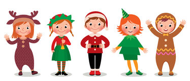 Groupe d'enfants dans Noël de costumes Photos libres de droits