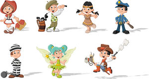 Groupe d'enfants de bande dessinée utilisant des costumes Image stock