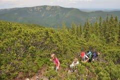 Groupe d'enfants escaladant la montagne Image libre de droits