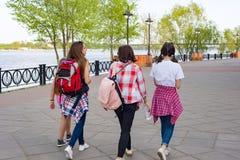 Groupe d'enfants et de femmes marchant en parc Photos stock