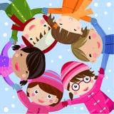 Groupe d'enfants heureux Images libres de droits