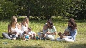 Groupe d'enfants heureux jouant dehors en parc d'été Les mères s'occupent de leurs enfants s'asseyant sur l'herbe clips vidéos