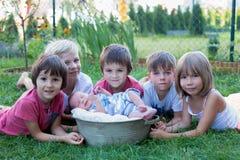 Groupe d'enfants heureux, s'étendant autour du bébé garçon en parc Photos libres de droits