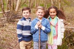 Groupe d'enfants jouant le jeu dans la forêt Image stock