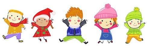 Groupe d'enfants l'hiver Image libre de droits