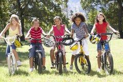 Groupe d'enfants montant des vélos dans la campagne Photos stock