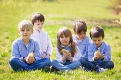 Groupe d'enfants préscolaires, amis et enfants de mêmes parents, jouant dans la PA Image libre de droits