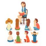 Groupe d'enfants préscolaires s'asseyant sur le plancher et le professeur de écoute Who Reading une illustration de vecteur de li illustration stock
