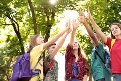 Groupe d'enfants remontant des mains dehors Photographie stock libre de droits