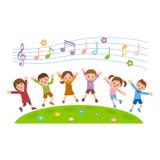 Groupe d'enfants sautant sur la colline d'herbe illustration stock