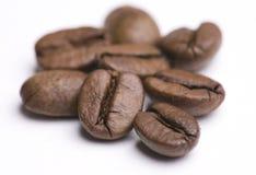Groupe d'haricots de Cofee sur le blanc Images stock