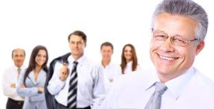 Groupe d'hommes d'affaires d'isolement sur le blanc Photographie stock
