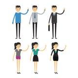 Groupe d'hommes d'affaires et de femmes, travailleurs sur le fond blanc illustration stock