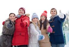 Groupe d'hommes et de femmes de sourire dans la forêt d'hiver Photos libres de droits